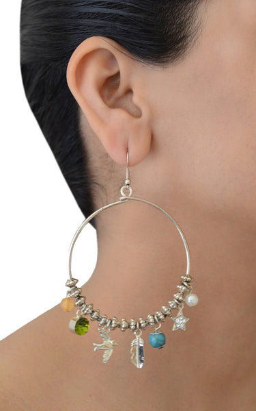 Dreamcatcher Charm Hoop Earrings