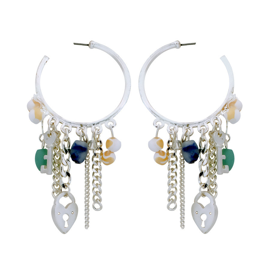 Lori Lock and Key Hoop Earrings