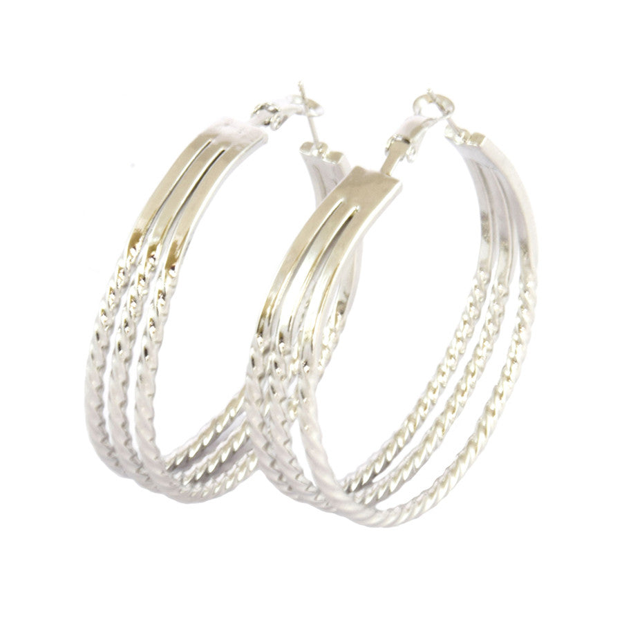 Dee Triple Line Twisted Wire Hoop Earrings