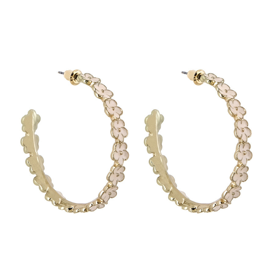 Racquel Off White Floral String Hoop Earrings