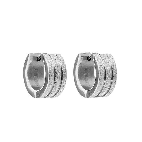 Classic English Lock Stainless Steel Hoop Earrings