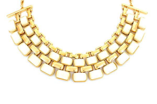 2 Row White Ribs Necklace