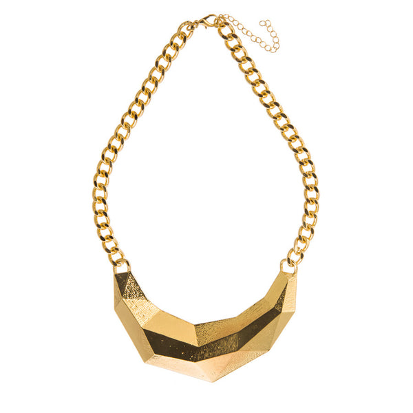 Gold Statement Rib Necklace