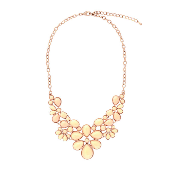 Nelly Floral Teardrop Coral Necklace