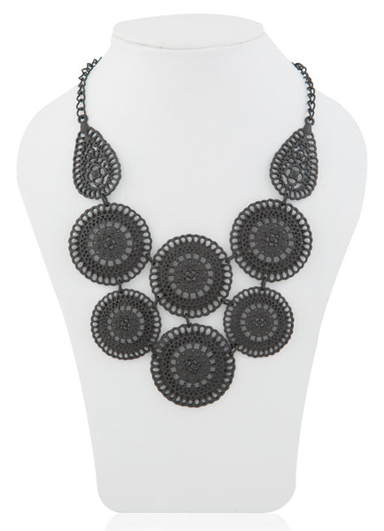 Filigree Black Shield Necklace