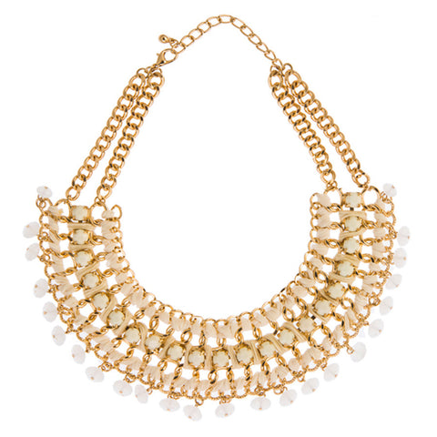 Gwyn White Statement Collar Necklace