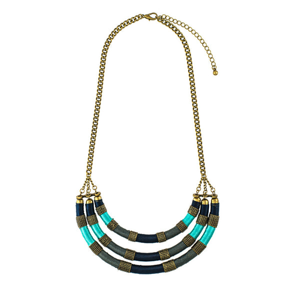 Jolie Peacock Layered Collar Necklace