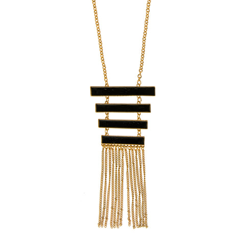 Regan Black and Gold Stair Tassel Pendant