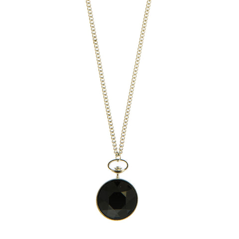 Keira Black and Silver Faceted Stone Pendant