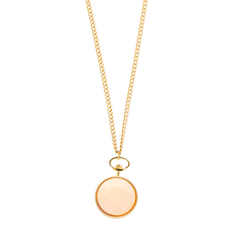 Keira Pink Faceted Stone Pendant