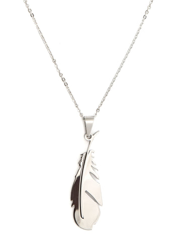 Delicate Feather Stainless Steel Pendant