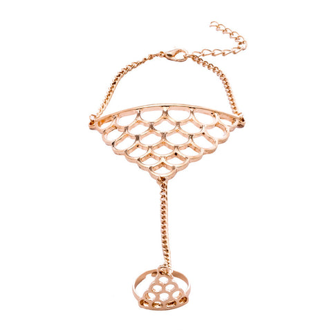 Cassie Crown Hand Chain Gold Ring