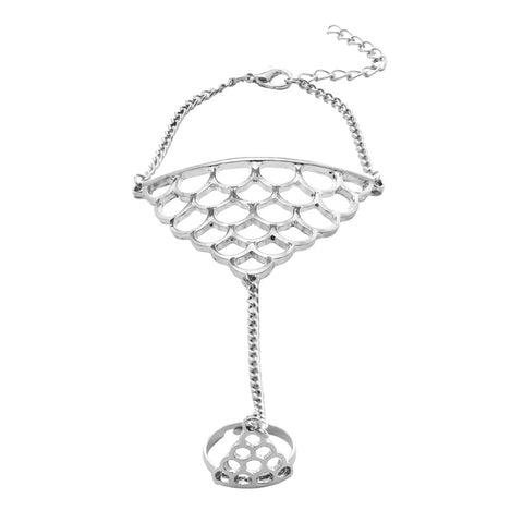 Cassie Crown Hand Chain Silver Ring