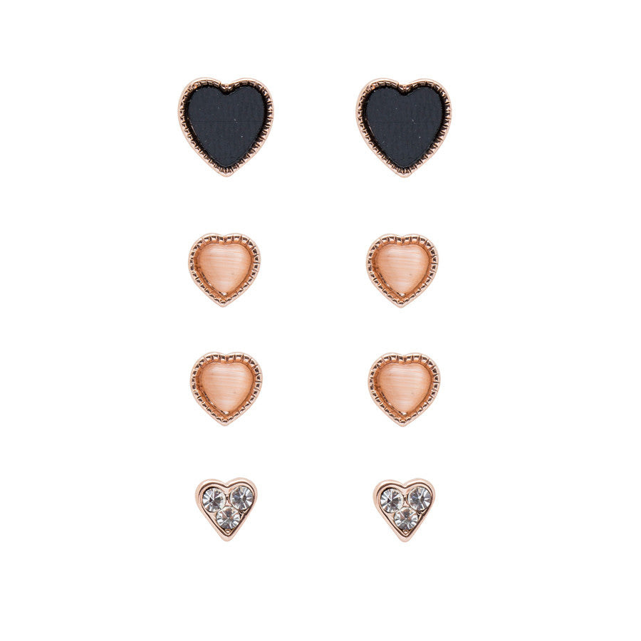 3 x Heart Beat Stud Earrings