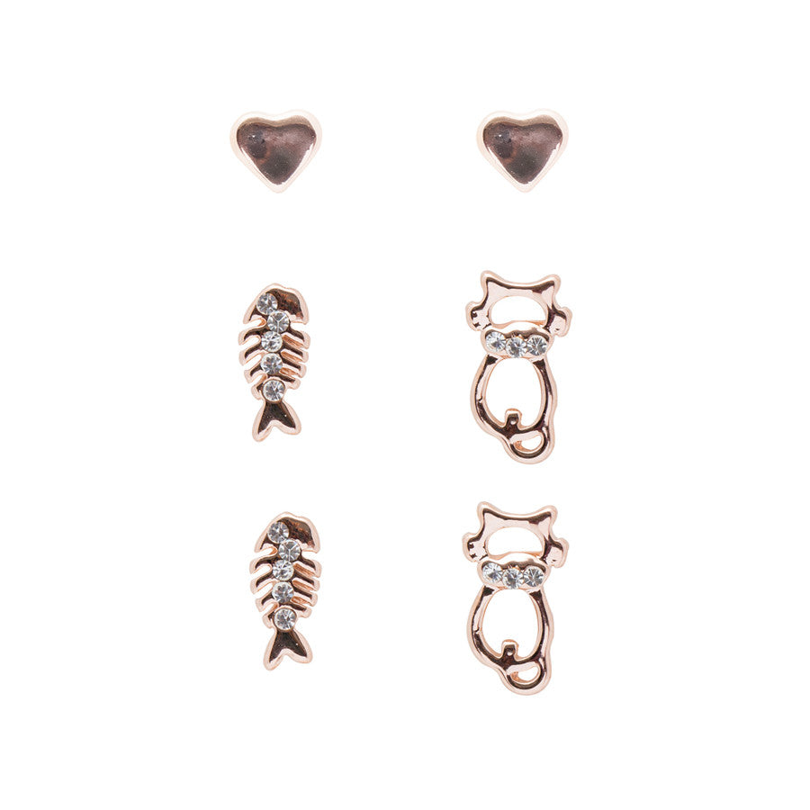 3 x Cats love Fish Stud Earrings