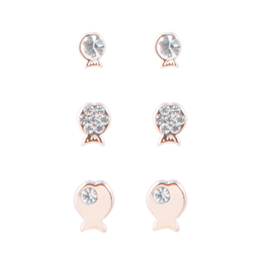 3 x Going Fishing Stud Earrings