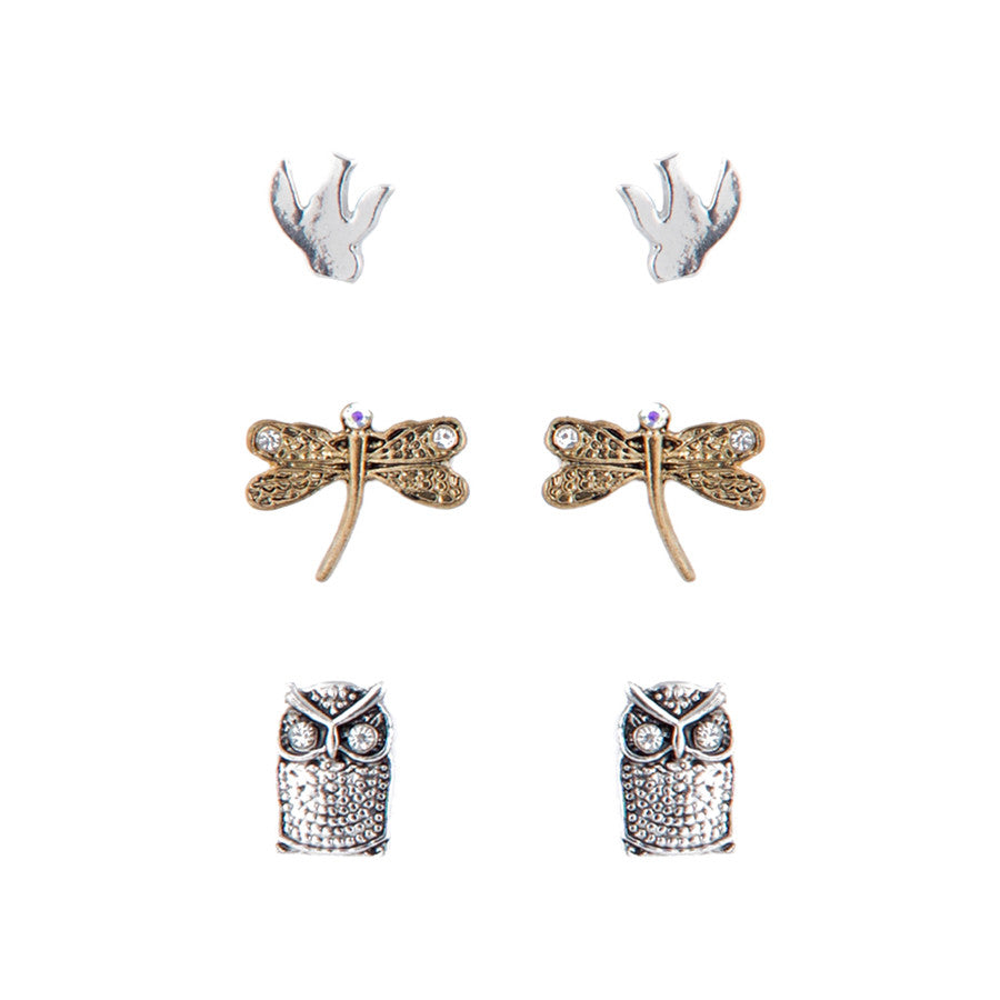 3 x Feathers All a Flutter Stud Earrings