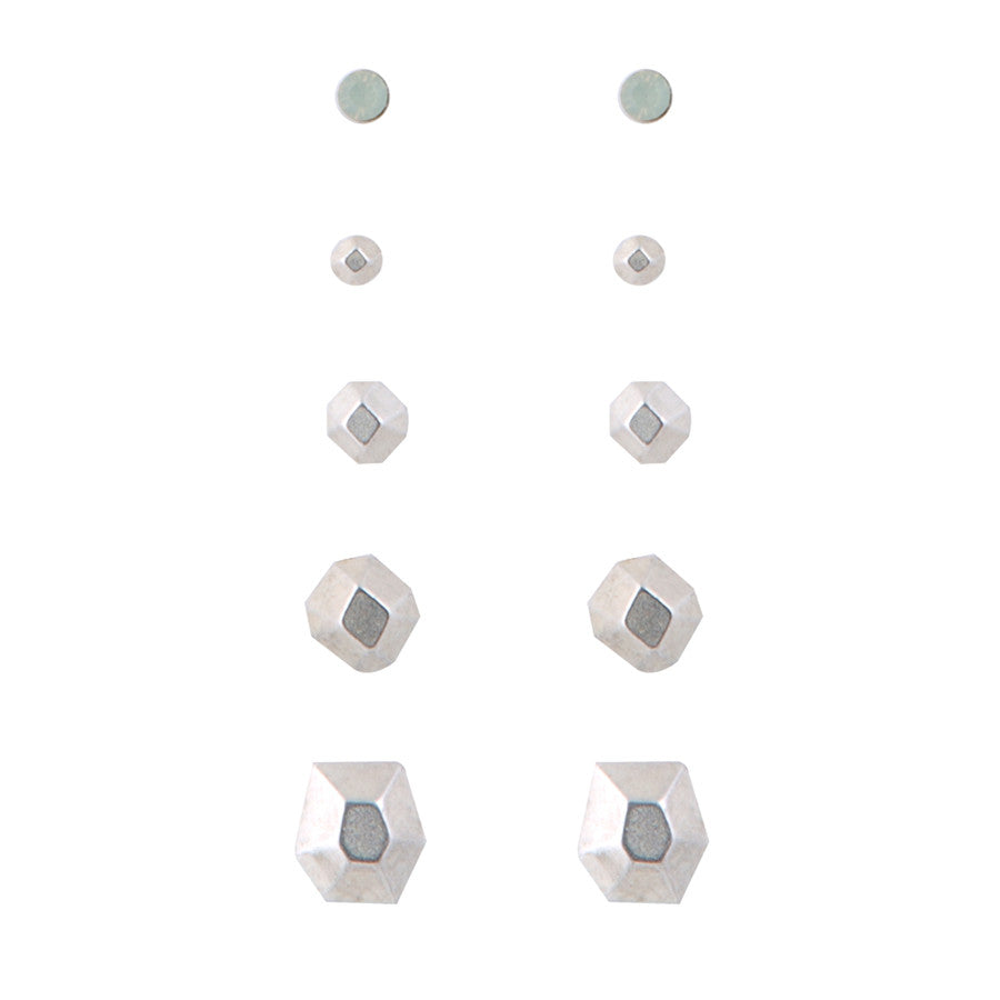 5 x Polygon Stud Earrings