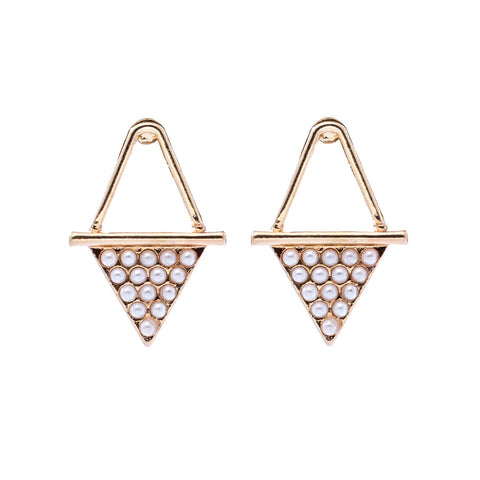 Pearl Bead Triangle Stud Earrings