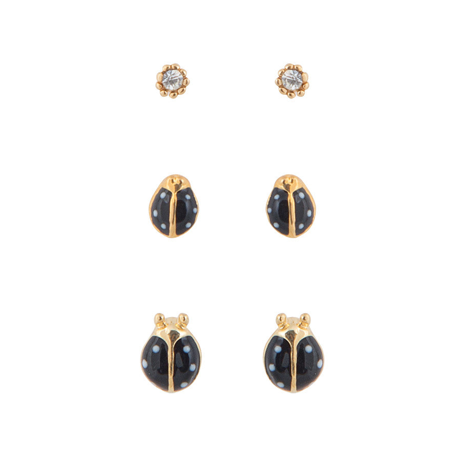 Lynn Lady Bug Set of 3 Stud Earrings