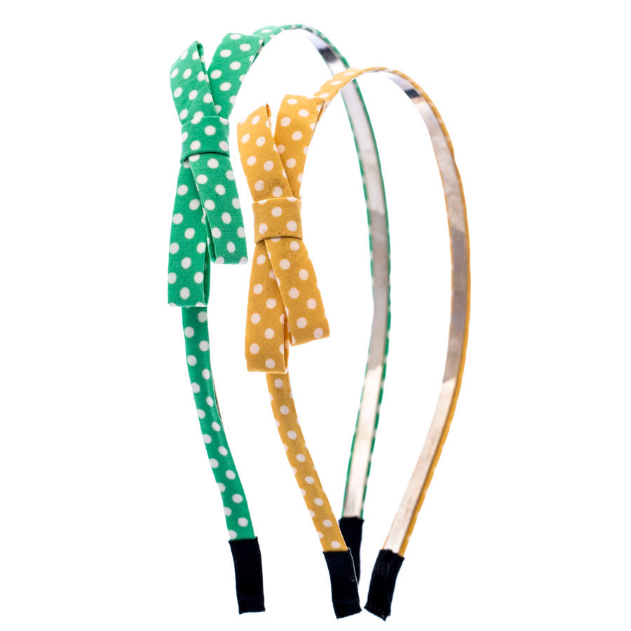 Polka Bow Hair Bands - Green and Yellow
