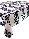 "Be real for joy! Designer Cotton Tablecloth Black Damask 52"" Square"