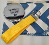 HomeSewBeautiful Handmade Cosmetic Bag Wristlet Key Fob and Pocket Mirror Bundle (3 pcs) in Blue Yellow White Print