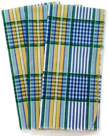 Tea Towels French Yellow and Blue Woven Plaid