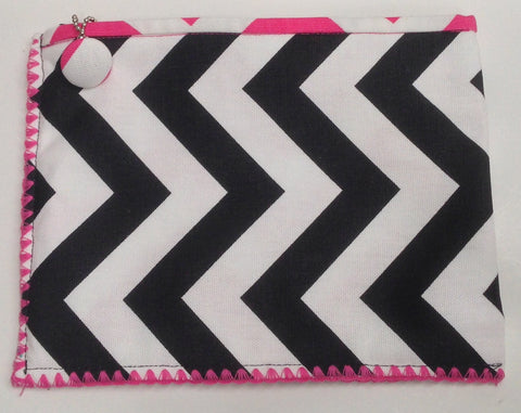 Stylish Black Chevron Cosmetic Cotton Zip Bag for Your Purse