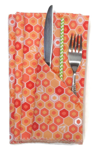 Handmade Cloth Table Linens Napkins Beehive and Bees in Shades of Orange Red Apricot