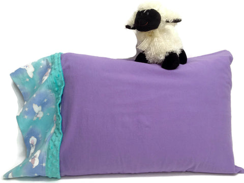 "6"" lamb print edging on flannel lavender pillowcase, comes with lamb toy"
