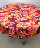 Cotton/Linen Cream Floral Bird Print Round Tablecloth with Crochet Edging