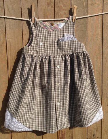 My Dad's Plaid Shirt Dress Sage 'N Tan Children's Size 4