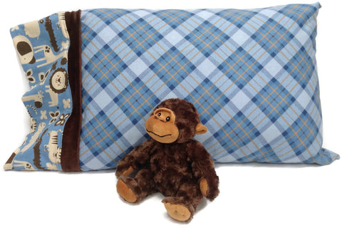 "6"" Jungle print edging on Blue plaid flannel pillowcase with monkey toy"