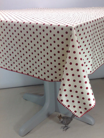 Cream with Barn Red Dots Square or round Tablecloth