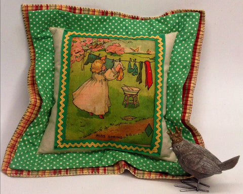 Vintage Girl in Bonnet Spring Wash Novelty HandMomMade Home Decorative Pillow
