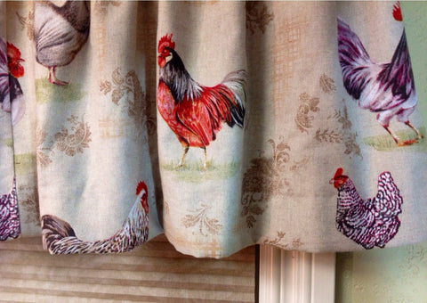 Designer Valance French Hens Annie Sloan Imported English Cotton Fabric Lined Interlined.