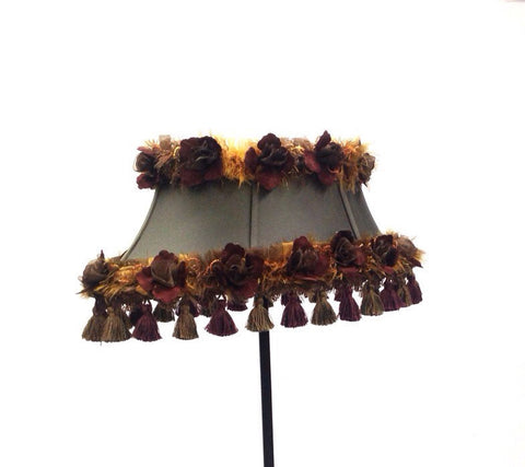 Decorative Tassels Satin Flower Ribbon Trimmed Lampshade Home Decor OOAK