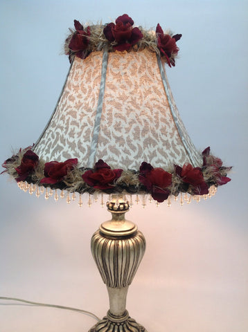 Decorative Lampshade Beaded Fringe Satin Flower Ribbon Trimmed Lampshade Home Decor OOAK