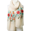 Beautiful Ivory Floral Print Lightweight Boho Embroidered Scarf