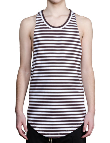 French Breton Striped Tank - Chocolate