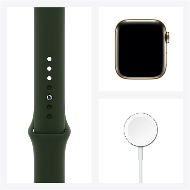 "Apple Watch Series 6 (GPS + Cellular) Stainless Steel Case with Sport Band <span style=""color: #ff9900;""><sup>NEW</sup></span>"