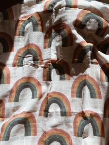 Vintage Rainbow Organic Cotton Muslin Swaddle
