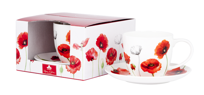 ASHDENE Teacup & Saucer Poppies (Bone China) - Houzethat