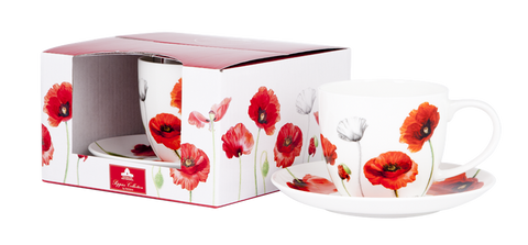 ASHDENE Teacup & Saucer Poppies (Bone China)