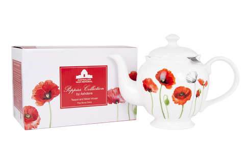 ASHDENE Teapot with infuser Poppies