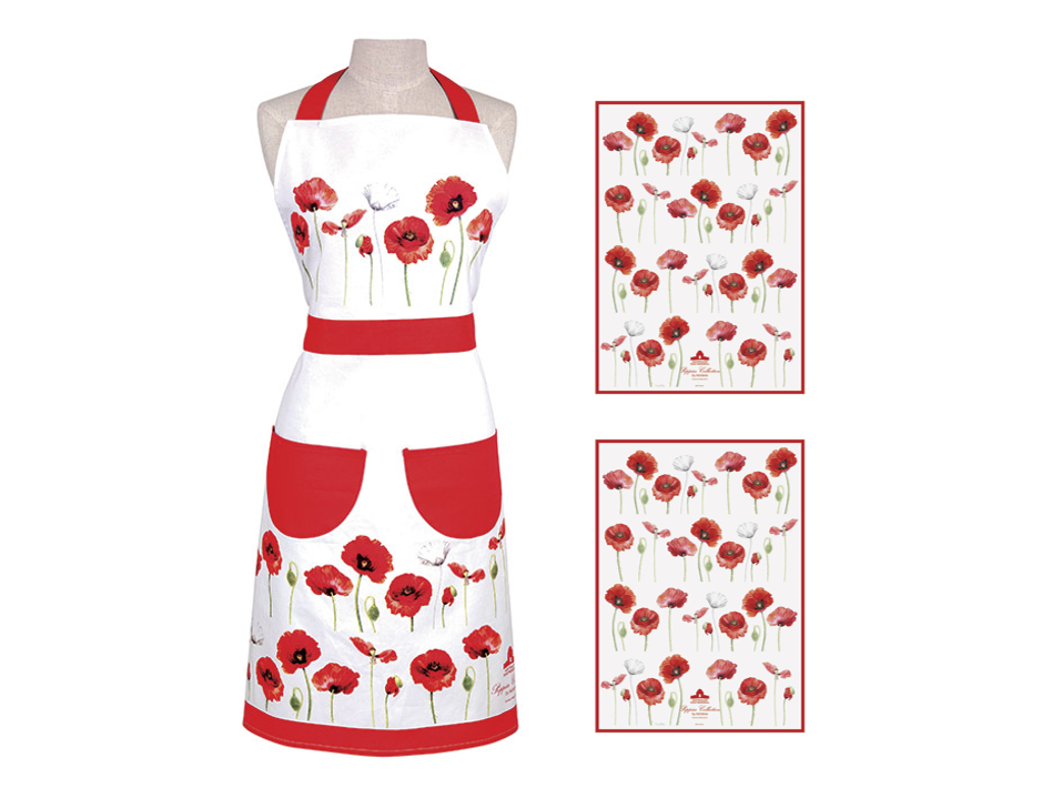 ASHDENE  Apron & 2 Tea Towel Set Poppies