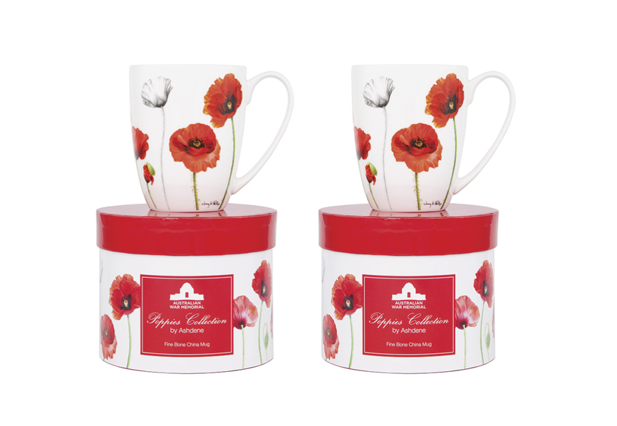 ASHDENE Set of 2 Coupe Mug Poppies