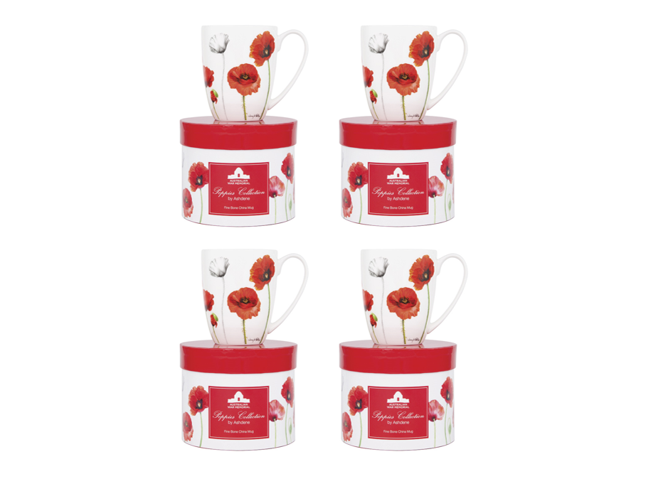 ASHDENE Set of 4 Coupe Mug Poppies