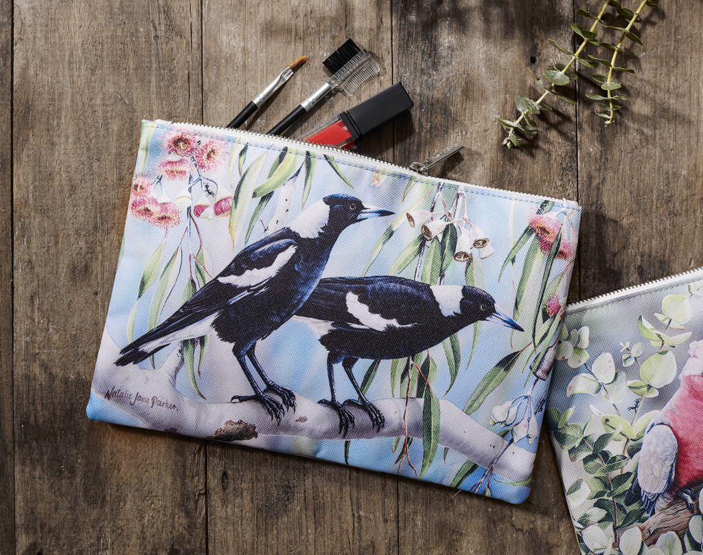 Ashdene Pouch Magpie & Flowering Red Gum - Australian Bird and Flora